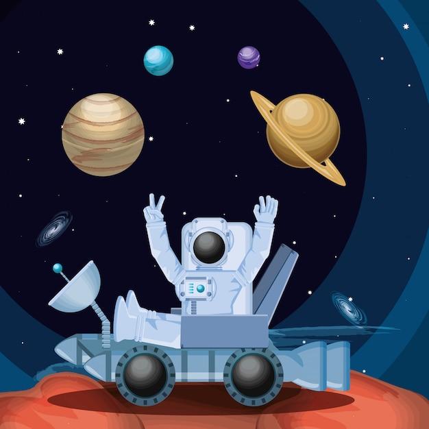 Astronauta no personagem do espaço Vetor Premium