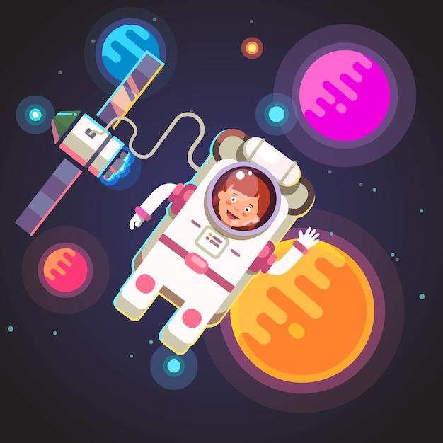 Astronauta que voa no espaço Vetor grátis