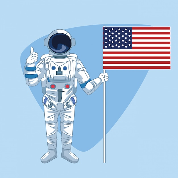 Astronauta sobre azul Vetor Premium