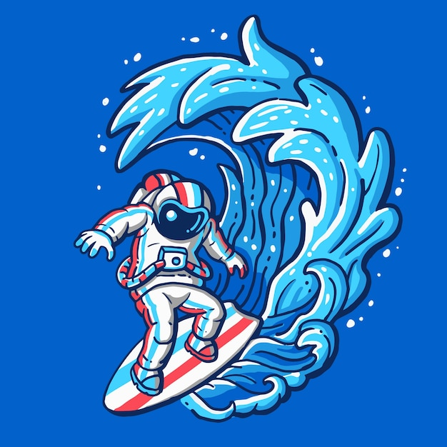 Astronauta surfando na praia Vetor Premium