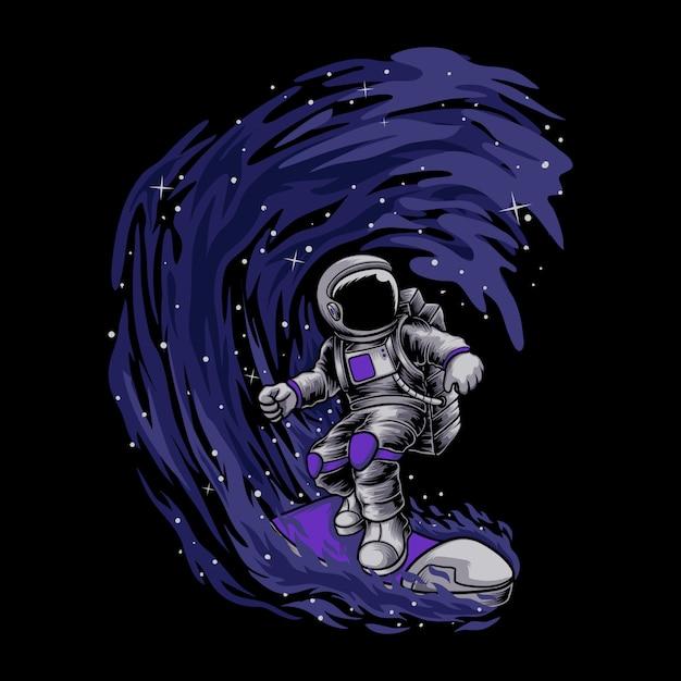 Astronauta surfando Vetor Premium