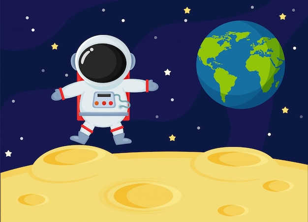 Astronautas na lua. Vetor Premium