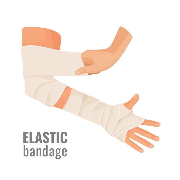 Atadura médica elástica enrolada em torno da mão humana ferida. Vetor Premium