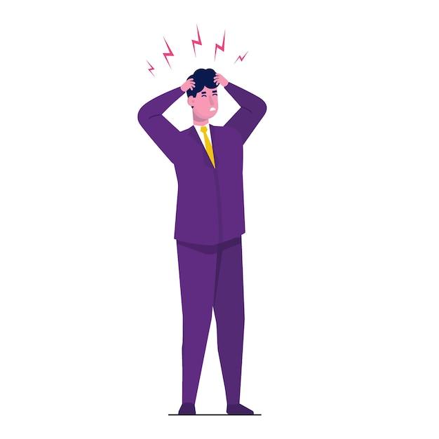Ataque de dor de cabeça, fadiga da compaixão. ilustração de dor de cabeça. Vetor Premium