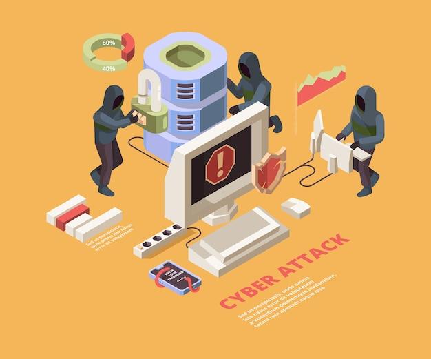 Ataque de hack. vírus de computador ou conceito isométrico de proteção de dados cibernéticos de páginas de phishing. ilustração ataque de hacker a dados, vírus Vetor Premium