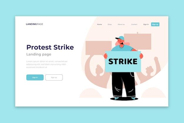 Ataque de protesto com a página de destino do personagem Vetor grátis