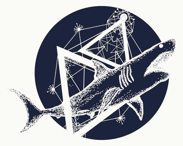 Ataque de tubarão Vetor Premium