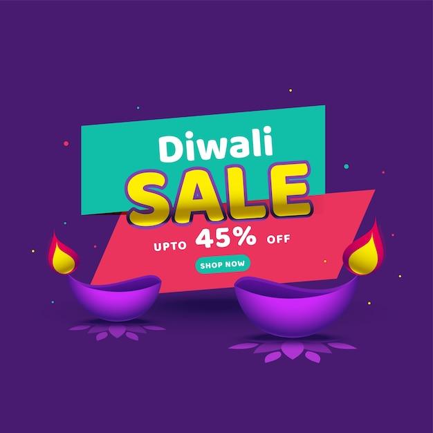 Até 45% de desconto no design de pôster diwali com lâmpadas de óleo aceso Vetor Premium