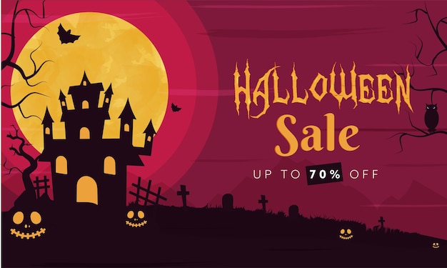 Até 70% de desconto para o design do banner para o halloween Vetor Premium