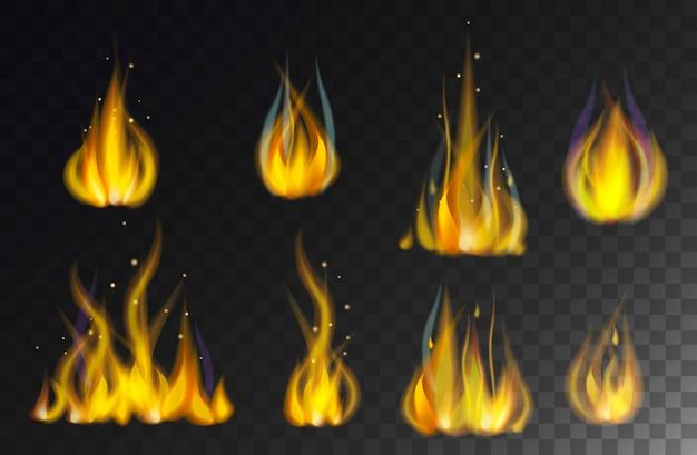 Ateie fogo à coleção das chamas isolada no vetor preto do fundo. Vetor Premium