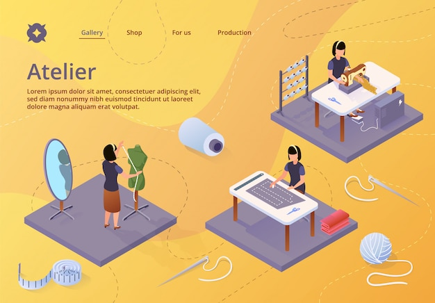 Atelier, negócio de artesanato têxtil, landing page web template Vetor Premium