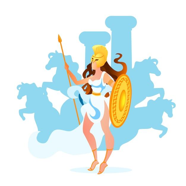 Atena ou deusa atena de sabedoria, artesanato e guerra Vetor Premium
