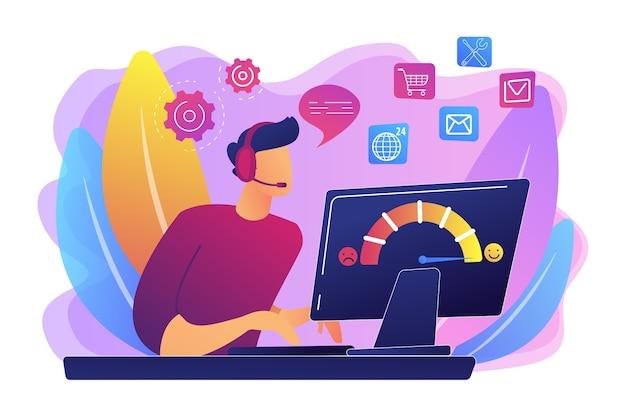 Atendimento a clientes, call center, operador de linha direta, gerente de consultores. atendimento ao cliente, atendimento contínuo e personalizado, conceito de experiência do cliente. Vetor grátis