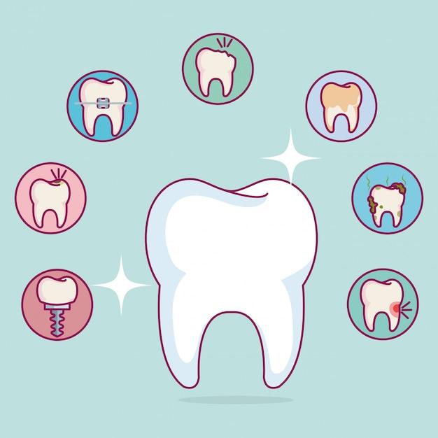 Atendimento odontológico conjunto de ícones Vetor grátis