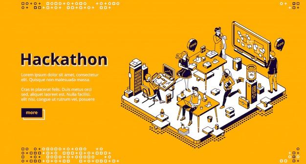 Aterragem isométrica de hackathon, desenvolvimento de software Vetor grátis