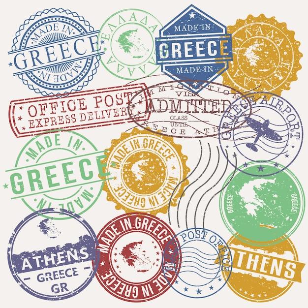Athens greece conjunto de viagens e negócios selos Vetor Premium