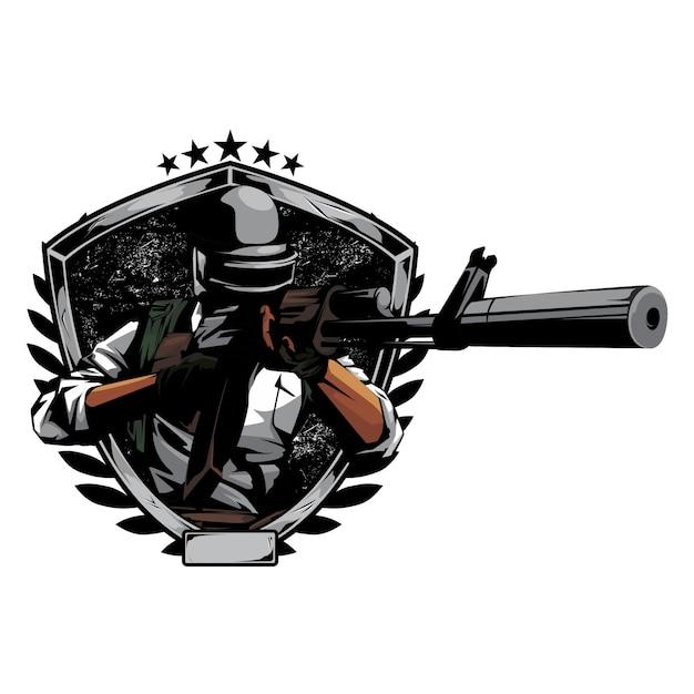 Atirador pronto para disparar Vetor Premium