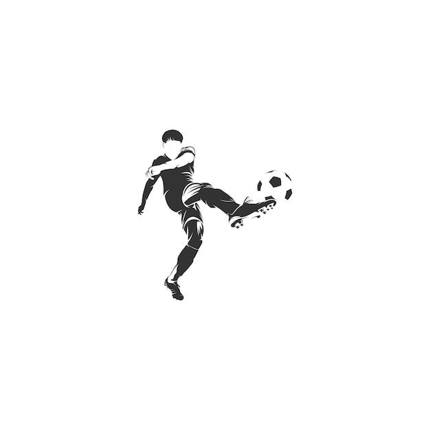 Atirar bola jogador futebol Vetor Premium
