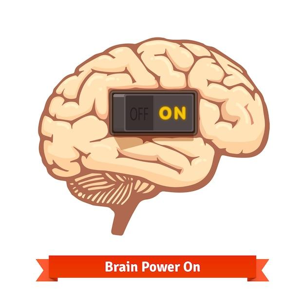 Ativação do cérebro ligado. conceito de mente forte Vetor grátis