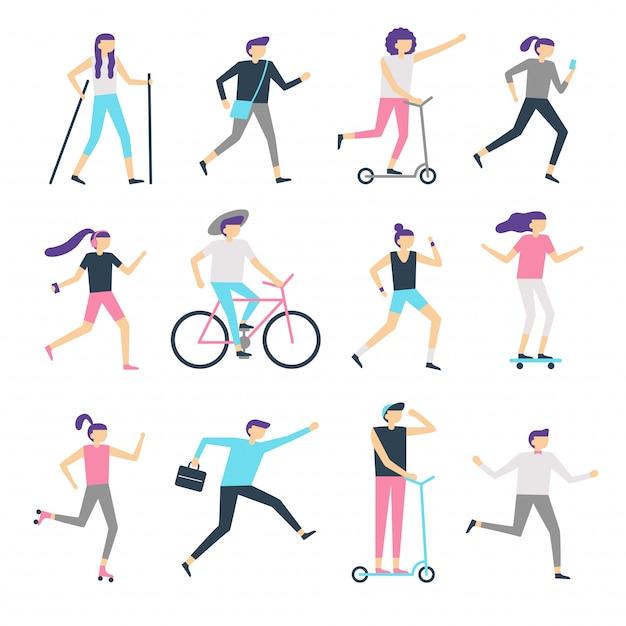 Atividade ao ar livre de pessoas. comunidade saudável, homem andando e mulher movimentando-se. executando adolescentes, patinação e ciclismo crianças vector conjunto Vetor Premium
