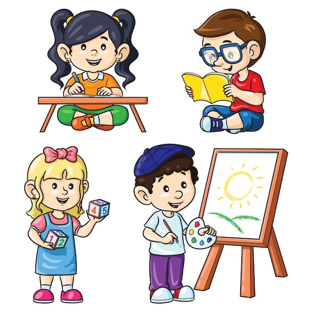 Atividade crianças leitura escrita contando pintura Vetor Premium