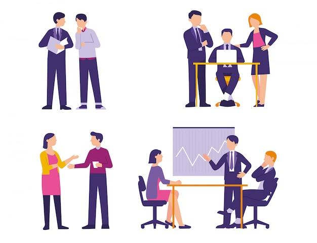 Atividade de conceito de atividade de negócios no escritório Vetor Premium