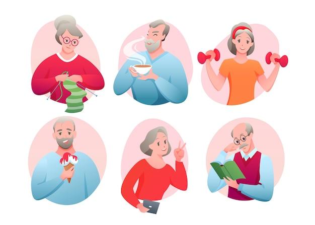 Atividade de idosos, tricô, networking, tomando sorvete, bebendo chá, lendo um livro Vetor Premium