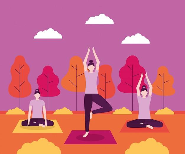 Atividade de ioga de pessoas Vetor grátis