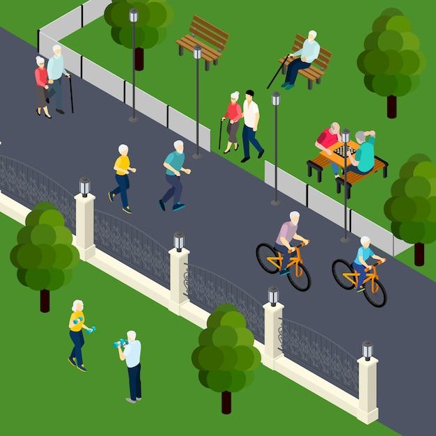 Atividade de lazer dos pensionistas no jogo de tabuleiro de esporte ao ar livre com amigos andando na ilustração em vetor isométrica parque Vetor grátis