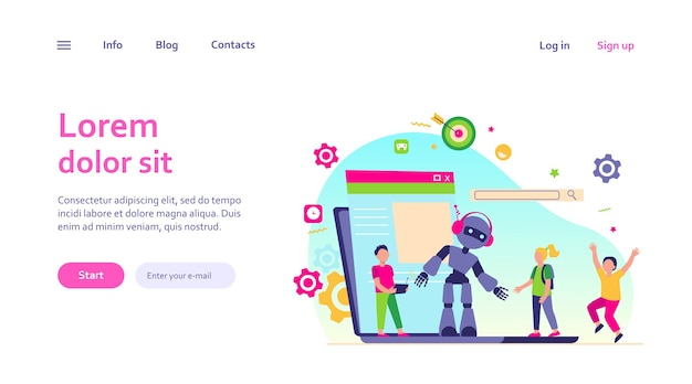 Atividade escolar e conceito de aula de robótica. robô operacional de menino com controle remoto. ilustração vetorial para jovem engenheiro, educação, ciência robótica para tópicos de crianças Vetor grátis