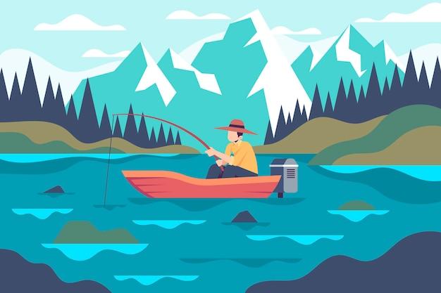 Atividades ao ar livre com pesca Vetor Premium