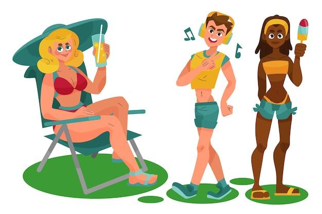 Atividades ao ar livre de verão Vetor grátis