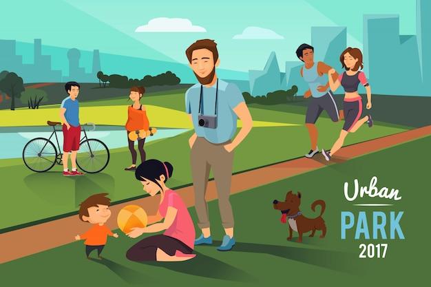 Atividades ao ar livre no parque urbano Vetor Premium