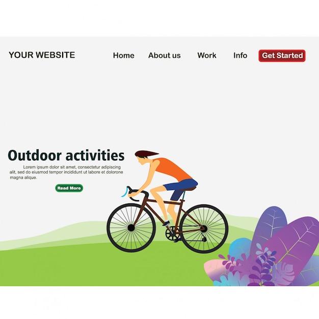 Atividades ao ar livre, o homem anda de bicicleta Vetor Premium