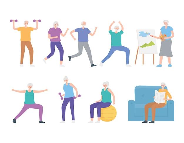 Atividades de esporte e hobby para idosos, homens e mulheres de personagens de desenhos animados. Vetor Premium