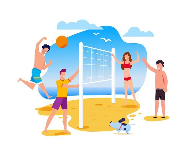 Atividades de verão e esporte na praia Vetor Premium