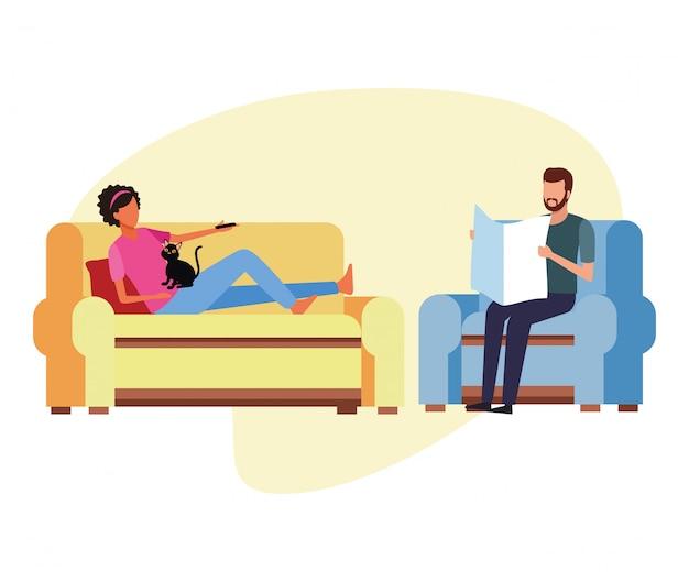 Atividades e tempo livre em casa Vetor Premium