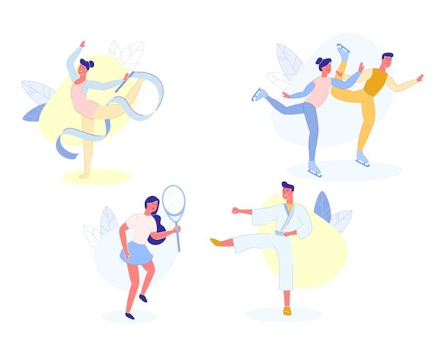 Atividades esportivas de pessoas e passatempo, desportistas. Vetor Premium