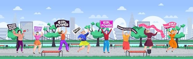 Ativistas femininas segurando cartazes movimento de empoderamento feminino conceito de poder feminino parque urbano paisagem urbana fundo ilustração vetorial de comprimento total horizontal Vetor Premium