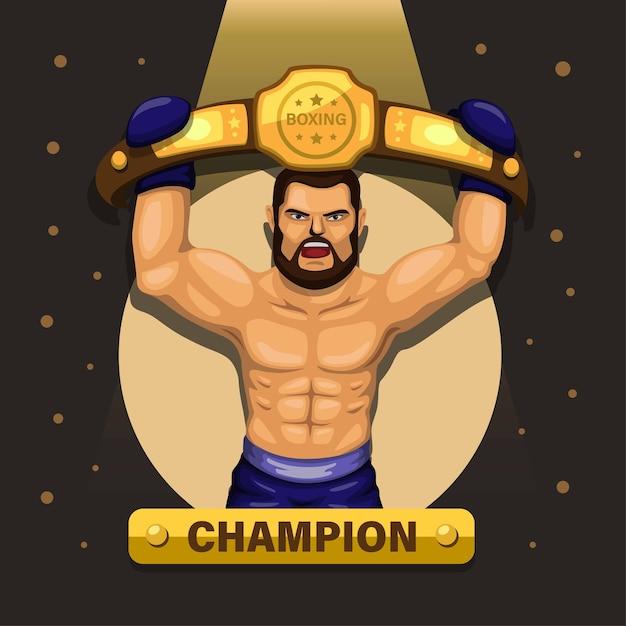 Atleta campeão de boxe com conceito de cinto premiado Vetor Premium