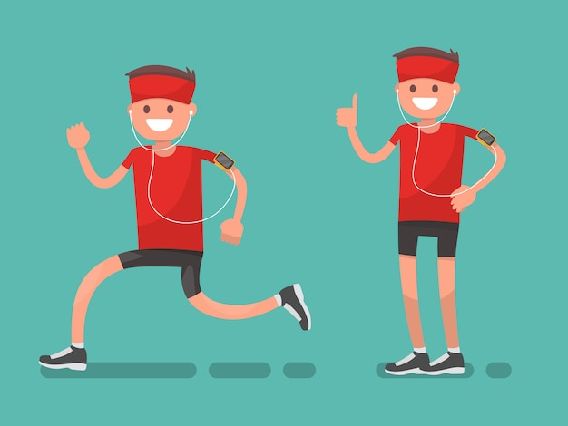 Atleta correndo e depois da corrida Vetor Premium