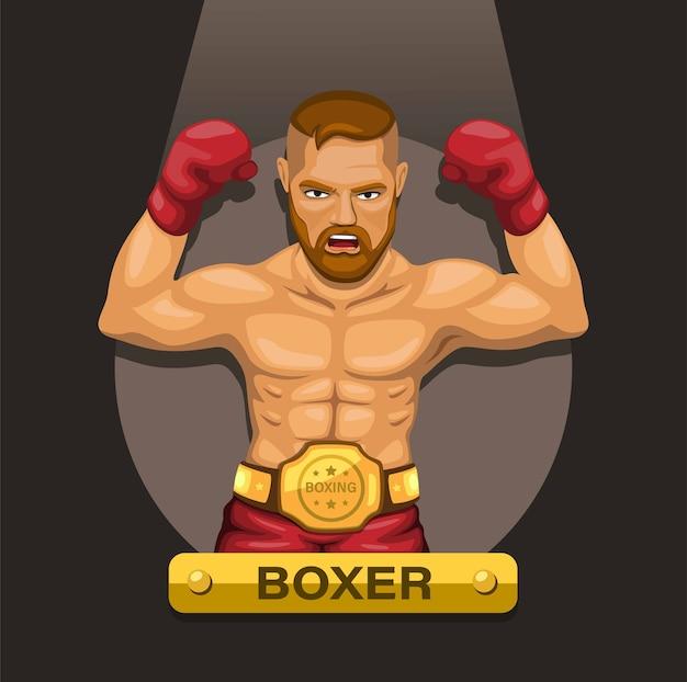 Atleta de boxe boxeador com cinto de campeão no conceito de personagem no peito Vetor Premium
