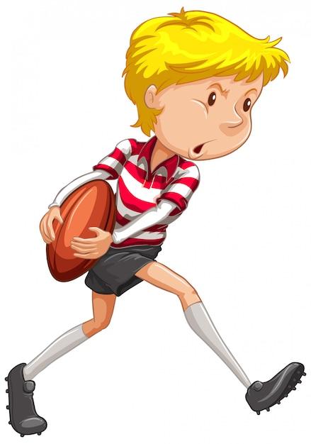 Atleta jogando rugby em branco Vetor grátis
