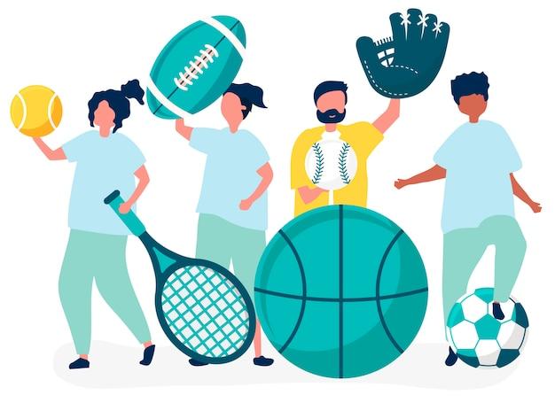 Atletas carregando ícones do esporte diferentes Vetor grátis