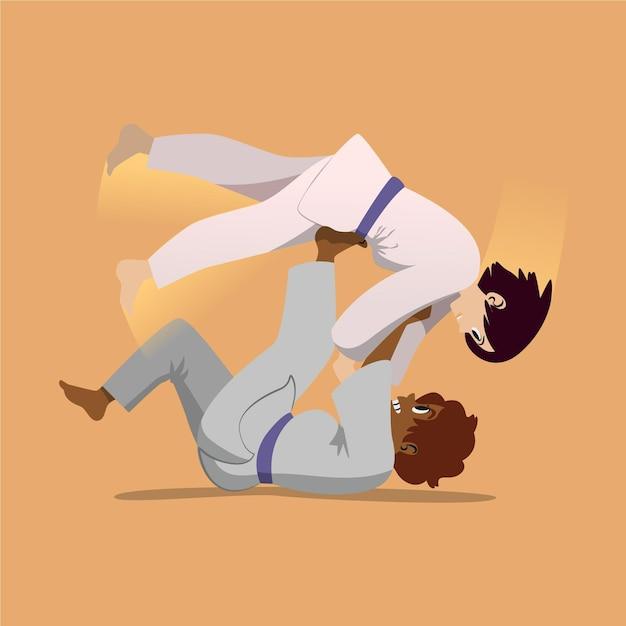Atletas de jiu-jitsu lutando Vetor grátis