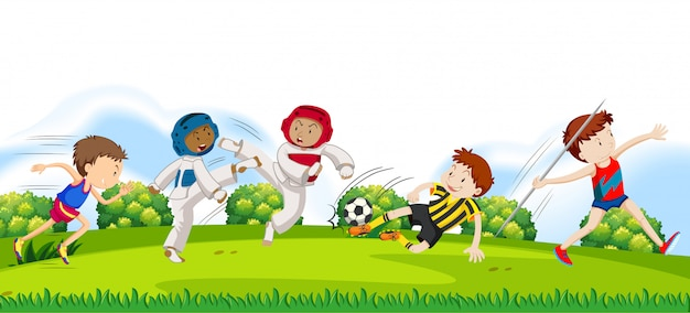 Atletas do esporte na natureza Vetor Premium