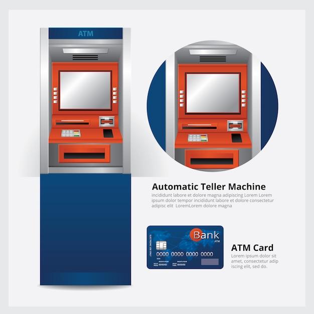 Atm automatic teller machine com ilustração em vetor cartão atm Vetor Premium