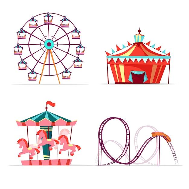Atrações de parque de diversões dos desenhos animados conjunto. roda gigante, carrossel de carrossel alegre Vetor grátis