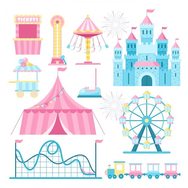 Atrações do parque de diversões plano conjunto de ilustrações. roda gigante dos desenhos animados, montanha russa e cabine de bilhetes. parque de diversões, pacote de elementos de design de parque de diversões. tenda de circo, atacante alto, quiosque de sorvete. Vetor Premium