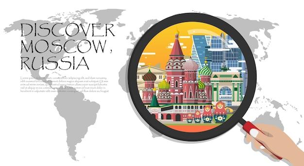 Atrações turísticas de moscou infográfico da rússia, mapa-múndi com lupa. Vetor Premium